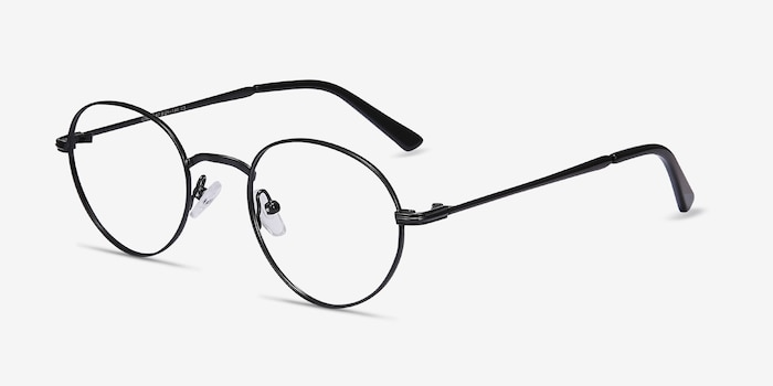 Izabel Black Metal Eyeglass Frames from EyeBuyDirect, Angle View
