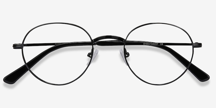 Izabel Black Metal Eyeglass Frames from EyeBuyDirect, Closed View
