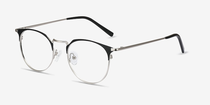Veronica Black Silver Metal Eyeglass Frames from EyeBuyDirect, Angle View