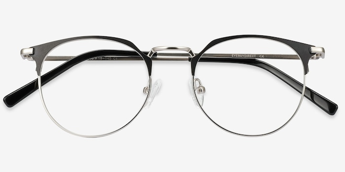 Veronica Black Silver Metal Eyeglass Frames from EyeBuyDirect, Closed View
