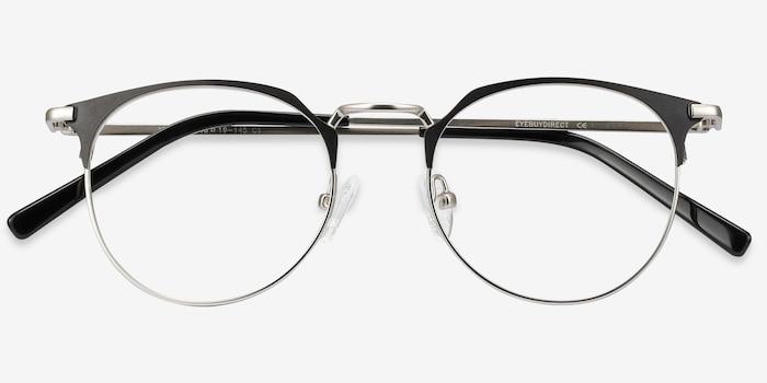 Veronica Black Silver Métal Montures de Lunettes d'EyeBuyDirect, Vue Rapprochée