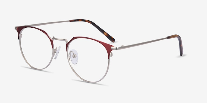 Veronica Red Metal Eyeglass Frames from EyeBuyDirect, Angle View