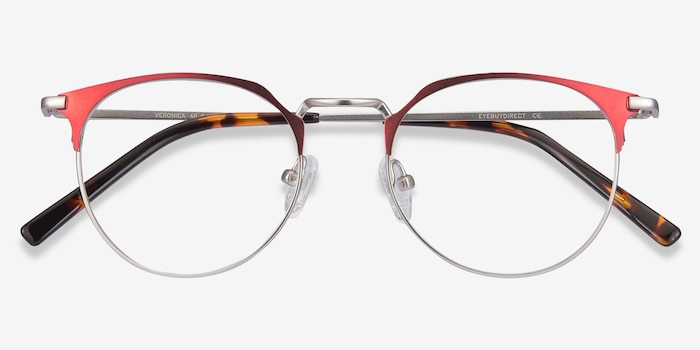 Veronica Red Metal Eyeglass Frames from EyeBuyDirect, Closed View