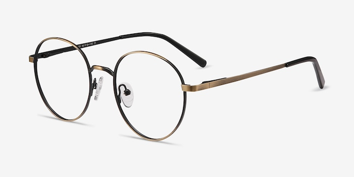 Nomad Bronze Metal Eyeglass Frames from EyeBuyDirect, Angle View