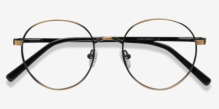 Nomad Bronze Metal Eyeglass Frames from EyeBuyDirect, Closed View