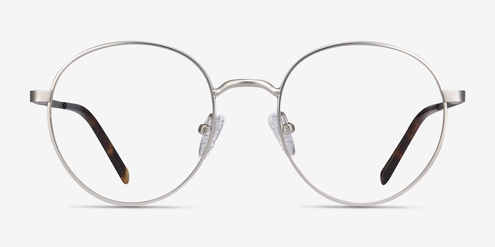 Nomad Silver Metal Eyeglass Frames from EyeBuyDirect, Front View