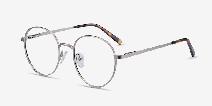Nomad Silver Metal Eyeglass Frames from EyeBuyDirect, Angle View