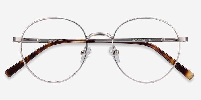 Nomad Silver Metal Eyeglass Frames from EyeBuyDirect, Closed View