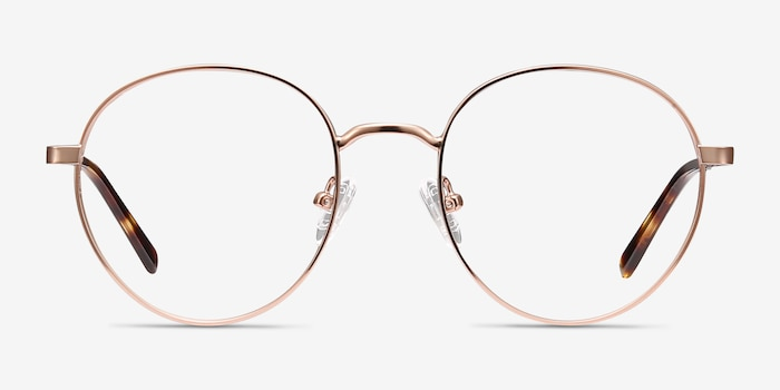 Nomad Rose Gold Metal Eyeglass Frames from EyeBuyDirect, Front View
