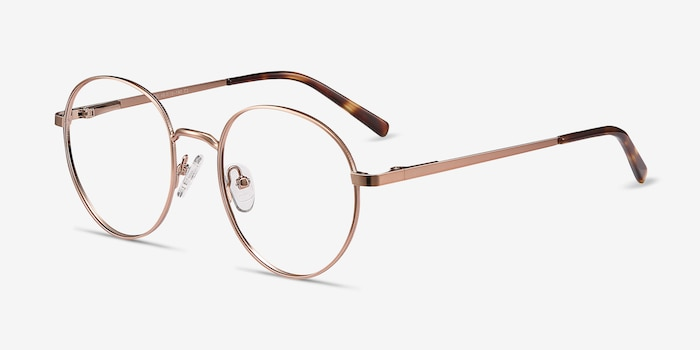 Nomad Rose Golden Metal Eyeglass Frames from EyeBuyDirect, Angle View