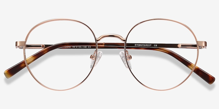 Nomad Rose Gold Metal Eyeglass Frames from EyeBuyDirect, Closed View