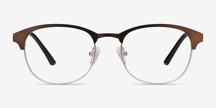 Toledo Brown Metal Eyeglass Frames from EyeBuyDirect, Front View