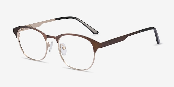 Toledo Brown Metal Eyeglass Frames from EyeBuyDirect, Angle View