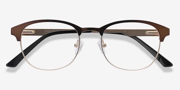 Toledo Brown Metal Eyeglass Frames from EyeBuyDirect, Closed View
