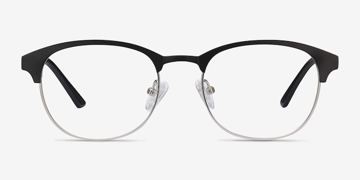 Toledo Black Metal Eyeglass Frames from EyeBuyDirect, Front View