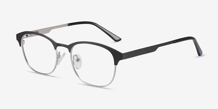 Toledo Black Metal Eyeglass Frames from EyeBuyDirect, Angle View