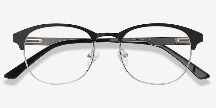 Toledo Black Metal Eyeglass Frames from EyeBuyDirect, Closed View