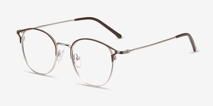 Jive Brown Metal Eyeglass Frames from EyeBuyDirect, Angle View