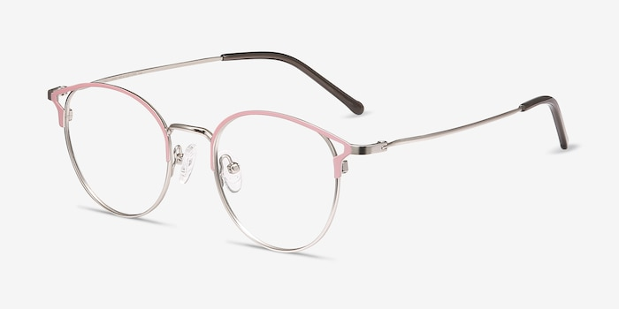 Jive Pink Metal Eyeglass Frames from EyeBuyDirect, Angle View