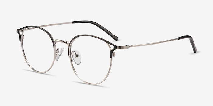Jive Black Silver Metal Eyeglass Frames from EyeBuyDirect, Angle View