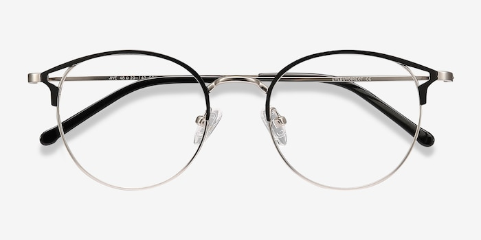 Jive Black Silver Metal Eyeglass Frames from EyeBuyDirect, Closed View