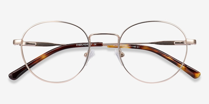 Memento Golden Metal Eyeglass Frames from EyeBuyDirect, Closed View