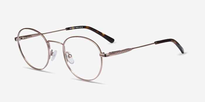Memento Pink Golden Metal Eyeglass Frames from EyeBuyDirect, Angle View