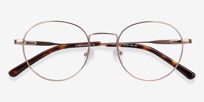 Memento Rose Gold Metal Eyeglass Frames from EyeBuyDirect, Closed View