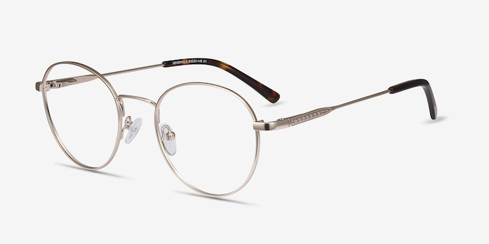 Memento Golden Metal Eyeglass Frames from EyeBuyDirect, Angle View