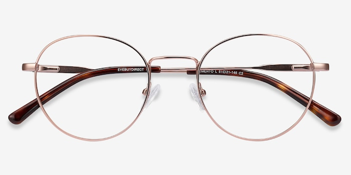 Memento Pink Golden Metal Eyeglass Frames from EyeBuyDirect, Closed View