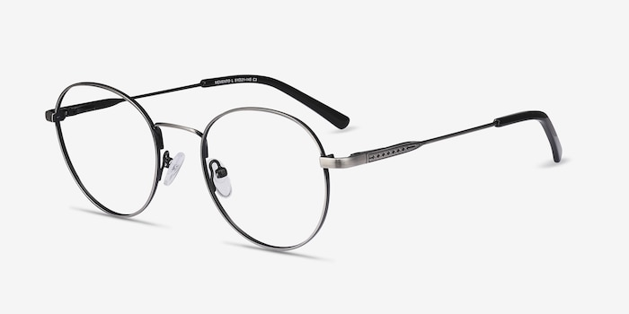 Memento Gunmetal Metal Eyeglass Frames from EyeBuyDirect, Angle View