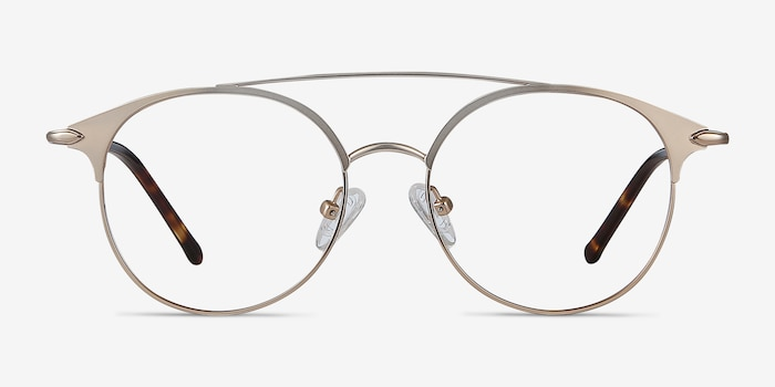 Cosine Rose Gold Metal Eyeglass Frames from EyeBuyDirect, Front View