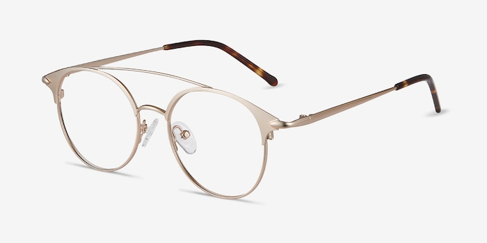 Cosine Rose Gold Metal Eyeglass Frames from EyeBuyDirect, Angle View