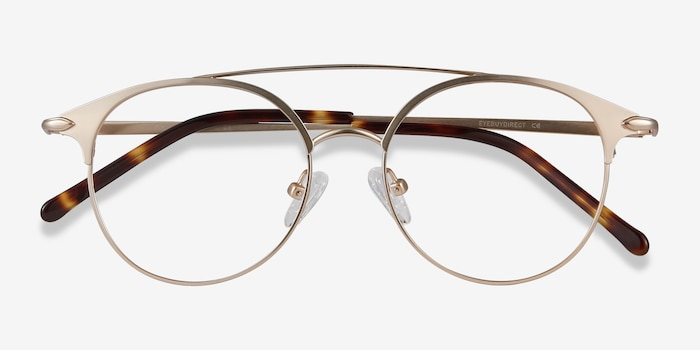 Cosine Rose Gold Metal Eyeglass Frames from EyeBuyDirect, Closed View