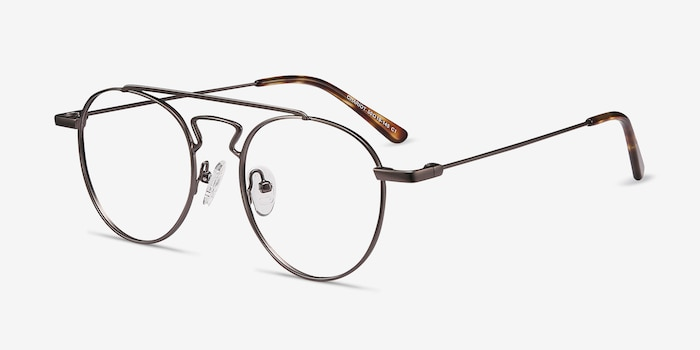 Chariot Gunmetal Metal Eyeglass Frames from EyeBuyDirect, Angle View