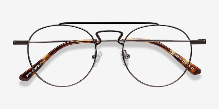 Chariot Gunmetal Metal Eyeglass Frames from EyeBuyDirect, Closed View