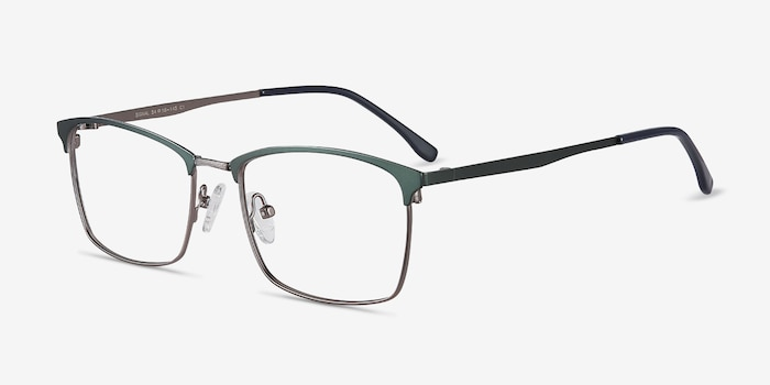Signal Green Metal Eyeglass Frames from EyeBuyDirect, Angle View