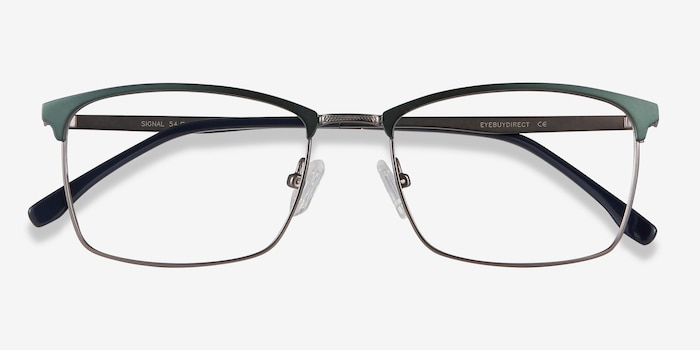 Signal Green Metal Eyeglass Frames from EyeBuyDirect, Closed View