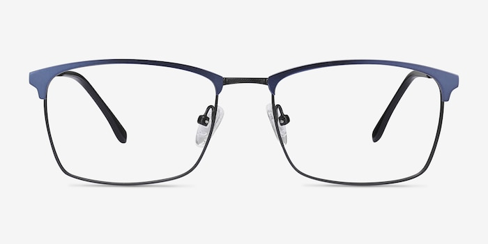 Signal Blue Metal Eyeglass Frames from EyeBuyDirect, Front View