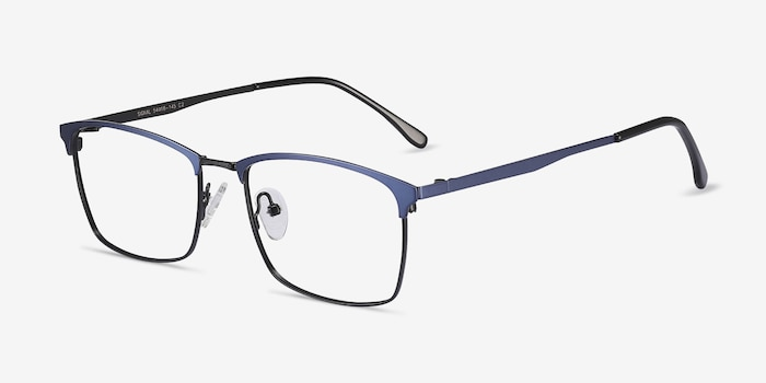 Signal Blue Metal Eyeglass Frames from EyeBuyDirect, Angle View