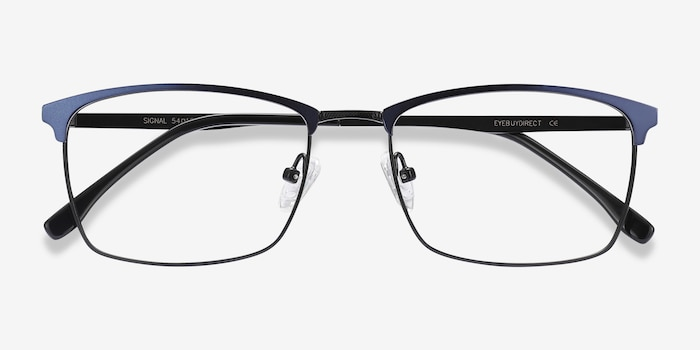 Signal Blue Metal Eyeglass Frames from EyeBuyDirect, Closed View