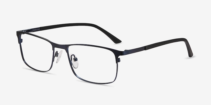 WIT Navy Metal Eyeglass Frames from EyeBuyDirect, Angle View