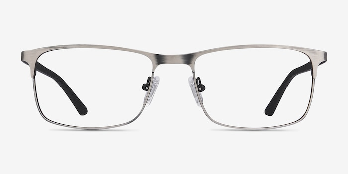 WIT Gunmetal Metal Eyeglass Frames from EyeBuyDirect, Front View