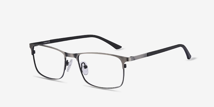WIT Gunmetal Metal Eyeglass Frames from EyeBuyDirect, Angle View