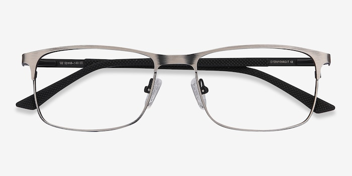 WIT Gunmetal Metal Eyeglass Frames from EyeBuyDirect, Closed View