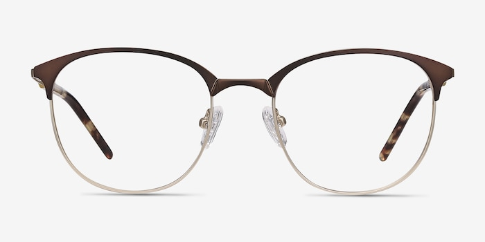 Perceive Brown Golden Metal Eyeglass Frames from EyeBuyDirect, Front View