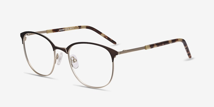 Perceive Brown Golden Metal Eyeglass Frames from EyeBuyDirect, Angle View