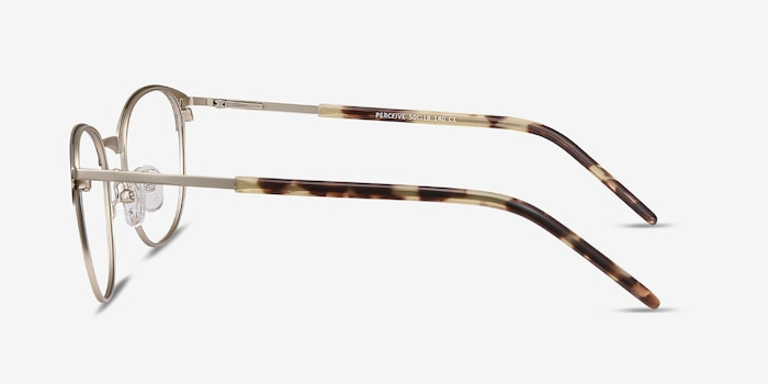 Perceive Brown Golden Metal Eyeglass Frames from EyeBuyDirect, Side View