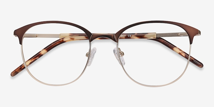 Perceive Brown Golden Metal Eyeglass Frames from EyeBuyDirect, Closed View