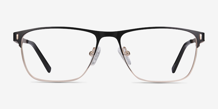 Media Black Metal Eyeglass Frames from EyeBuyDirect, Front View
